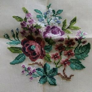 Vintage preworked crewel purple flower bouquet